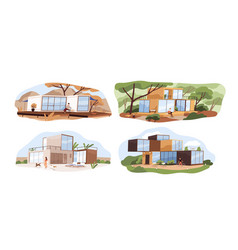set shipping container houses in nature vector image