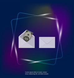 set two blank envelope with money neon light vector image