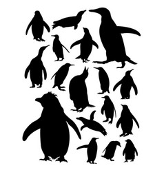 silhouette penguins vector image
