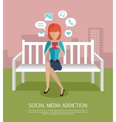 Social Media Addiction Banner vector