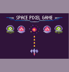 space pixel game aliens and spaceship pixelated vector image