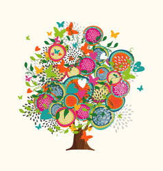 Spring tree concept made of hand drawn flowers vector