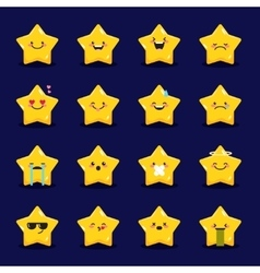 Star emoticons collection Cute emoji set vector
