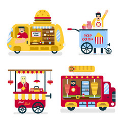 street food trucks burgers and popcorn chinese vector image