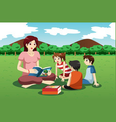 teacher reading book to kids vector image