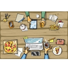 Top view background - lunch time with tablet vector