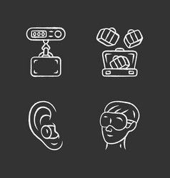 Travel accessories chalk icons set digital vector