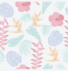 tropical jungle leaves and flowers pattern texture vector image