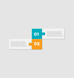 two pieces jigsaw puzzle line info graphic vector image