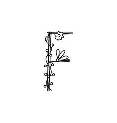 Vintage floral bold letter f logo spring classic vector