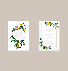 Wedding cards invitation with lemon branches vector
