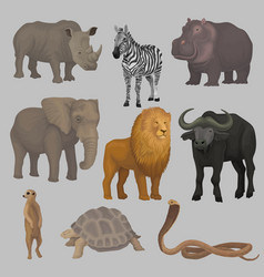 Wild african animals set hippopotamus elephant vector