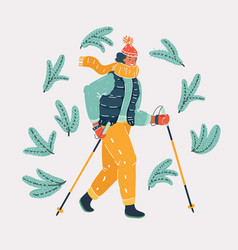 Woman nordic walker vector