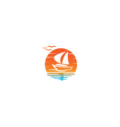 yacht sailing in sea for logo design in a sun vector image