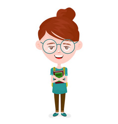 young student girl with books vector image