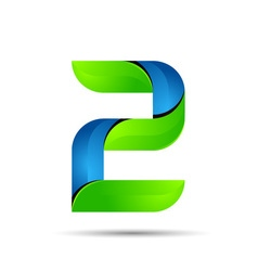 3d Number 2 two logo with speed green leaves vector image