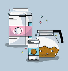 Coffee pitcher an plastic cup with milk box vector