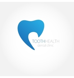 Dental clinic logo with blue tooth icon vector image vector image