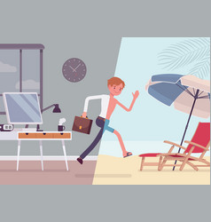 man leaps to vacation vector image