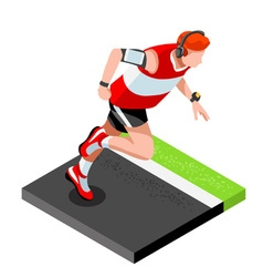 Marathon Runners Fitness Working Out Isometric 3D vector image vector image
