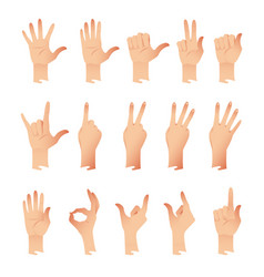 set of hands in different gestures emotions vector image