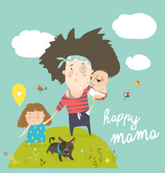 tired mother walking with her kids vector image