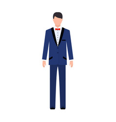 young groom in a wedding suitwedding single icon vector image vector image