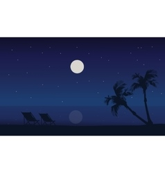 At night silhouette scenery of beach summer vector