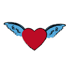 love heart with wings tattoo symbol vector image