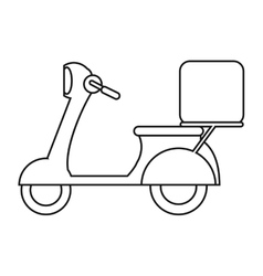 motorcycle scooter delivery food outline vector image vector image