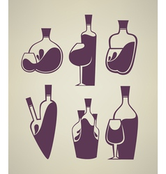 wine collection glass and bottle vector image vector image