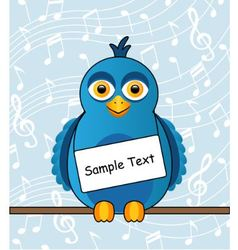 blue bird with a sign vector image vector image