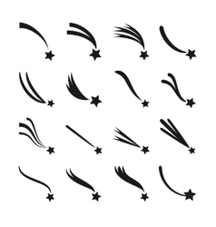 Falling shooting stars meteorites and comets vector