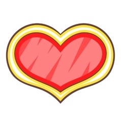 Shield in the shape of heart icon cartoon style vector