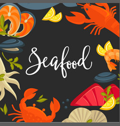 delicious seafood promotional banner with big vector image