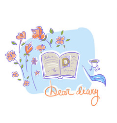 Diary of a girl lying on the table with roses vector