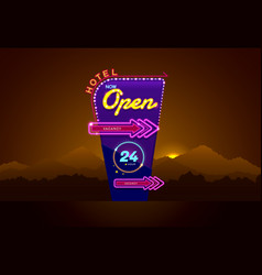 hotel sign buib and neon open vector image