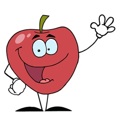 Red Apple Waving A Greeting vector image