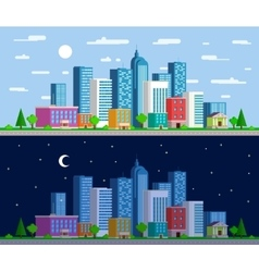Set of wide panoramas the urban landscape vector image vector image