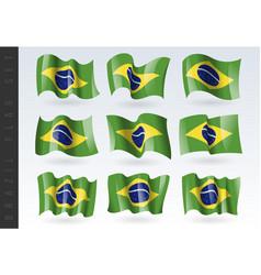 3d waving flag brazil isolated on white vector image