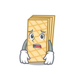 Afraid waffle mascot cartoon style vector