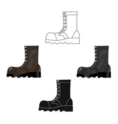 Army combat boots icon in cartoonblack style vector