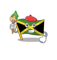 Artist flag jamaica isolated with cartoon vector