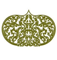Asian art green color pattern on a white vector image