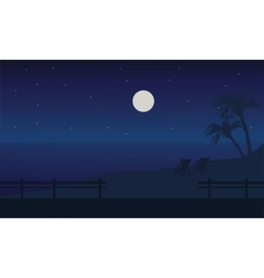 At Night beach scenery summer holiday vector