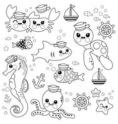 Baby sea animals marine nautical set vector