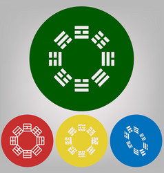 Bagua sign 4 white styles of icon at 4 vector