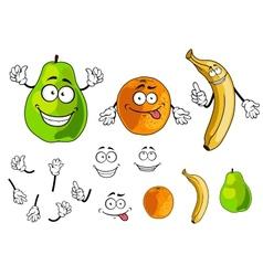 Banana pear and orange smiling fruits vector image