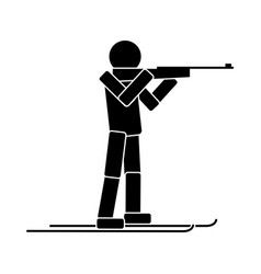Biathlon flat icon vector