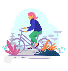 bike riding girl in a bold modern style vector image